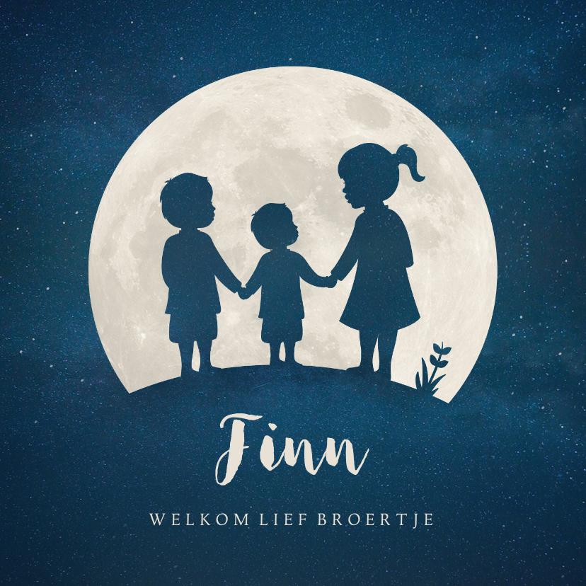 Geboortekaartjes - Geboortekaartje jongen Maan met silhouet van 3 kinderen