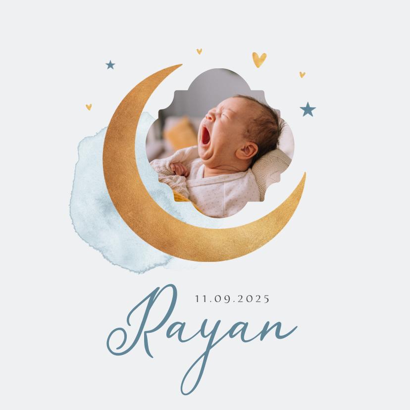 Geboortekaartjes - Geboortekaartje jongen maan sterren foto waterverf