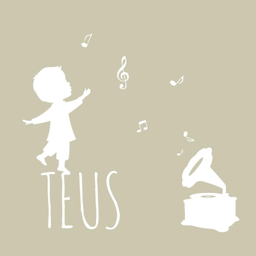 Geboortekaartjes - Geboortekaartje jongen met een silhouet en een platenspeler