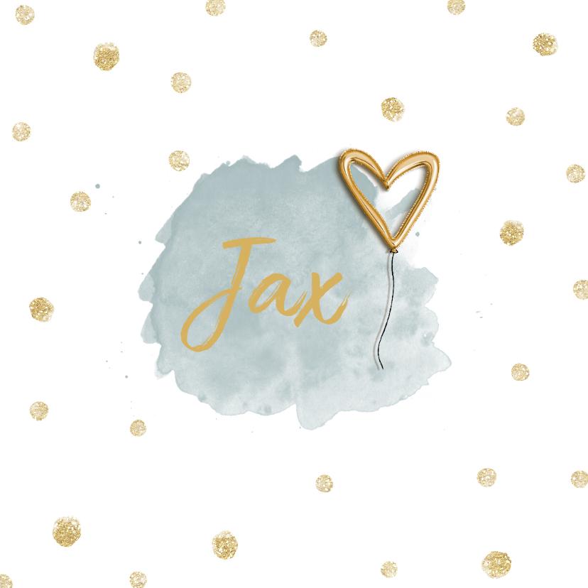 Geboortekaartjes - Geboortekaartje jongen met foto van goudfolie ballon