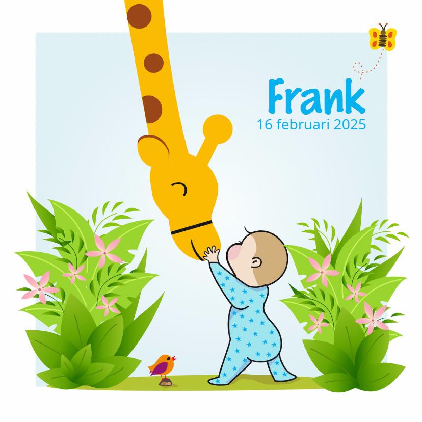 Geboortekaartjes - Geboortekaartje jongen met giraf