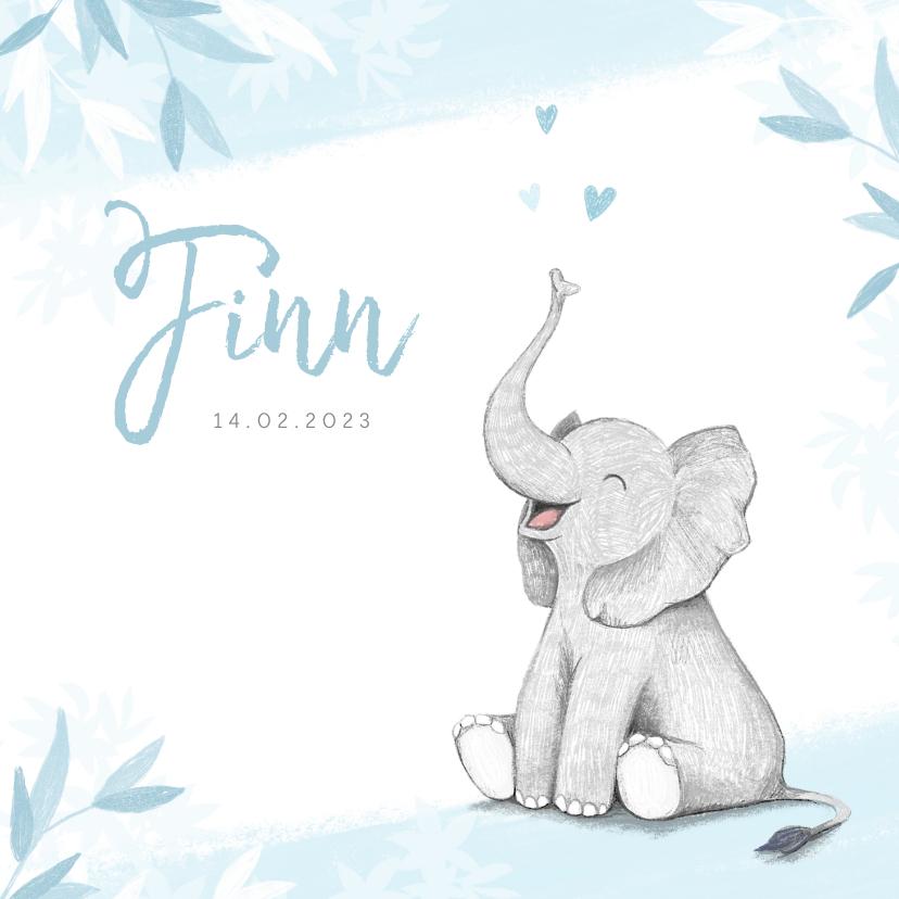 Geboortekaartjes - Geboortekaartje jongen olifant dieren blauw illustratie