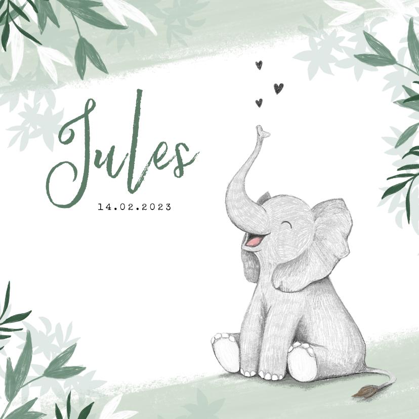 Geboortekaartjes - Geboortekaartje jongen olifant dieren groen jungle