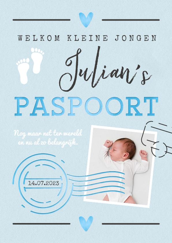 Geboortekaartjes - Geboortekaartje jongen paspoort made with love stempels