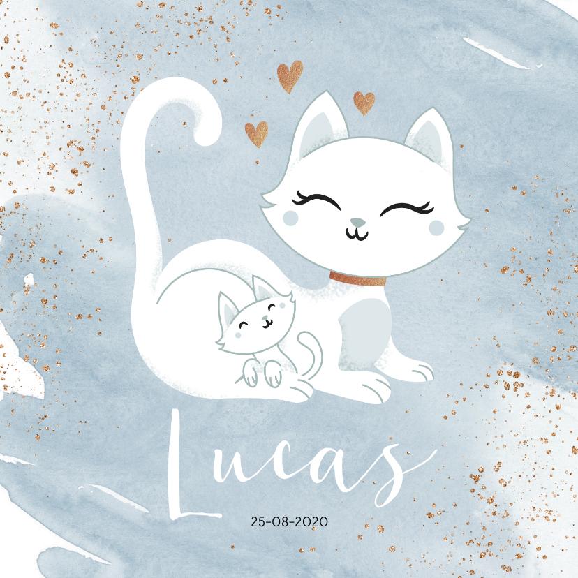 Geboortekaartjes - Geboortekaartje jongen poesje kat kitten waterverf