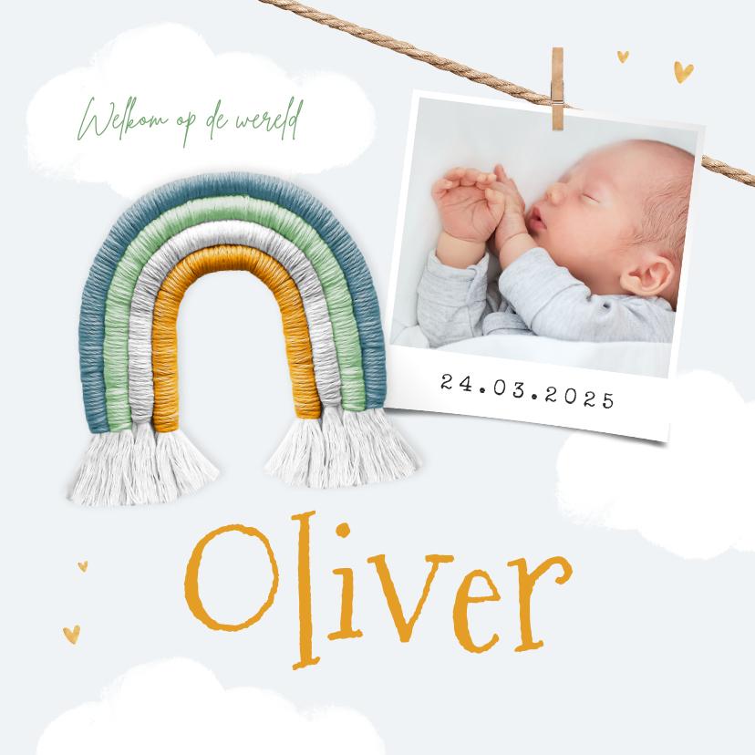 Geboortekaartjes - Geboortekaartje jongen regenboog foto hartjes wolken