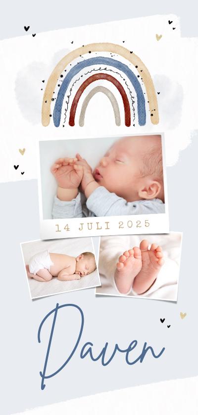 Geboortekaartjes - Geboortekaartje jongen regenboog hartjes fotocollage