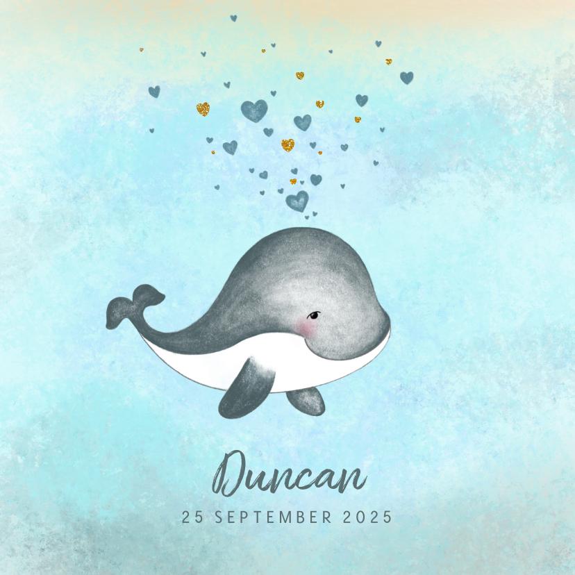 Geboortekaartjes - Geboortekaartje jongen schattig walvisje met hartjes