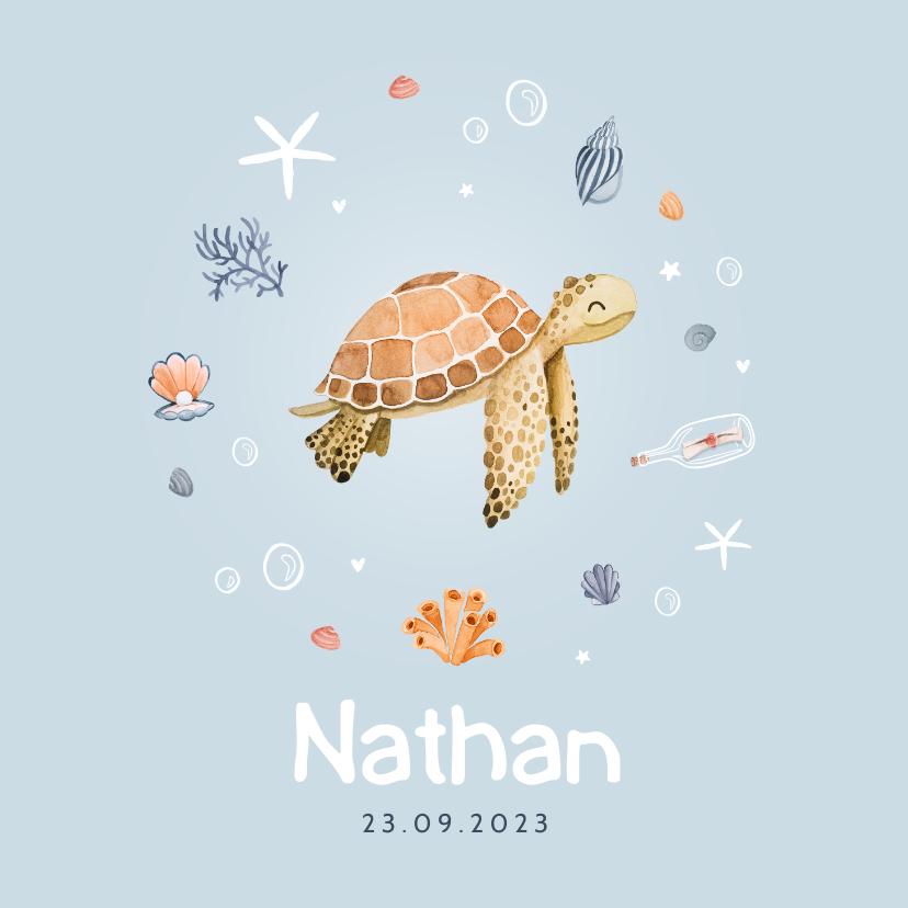 Geboortekaartjes - Geboortekaartje jongen schildpad zee onderwater