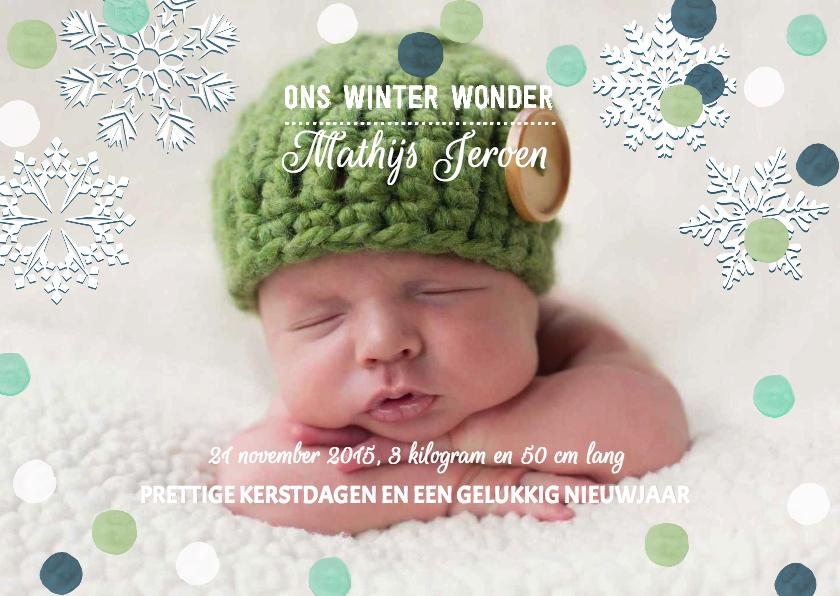 Geboortekaartjes - Geboortekaartje jongen sneeuw