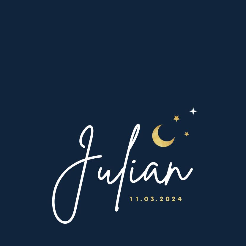 Geboortekaartjes - Geboortekaartje jongen sterren maan nacht