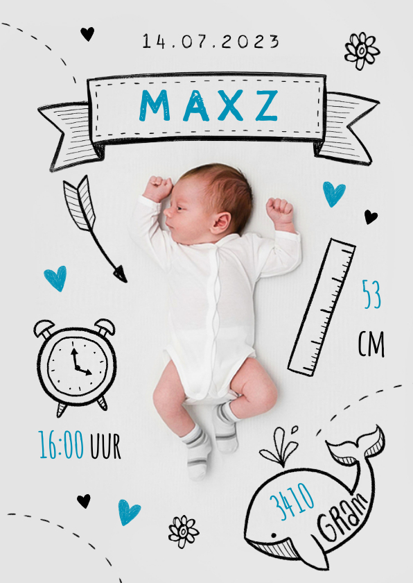 Geboortekaartjes - Geboortekaartje jongen stoer illustraties doodle foto