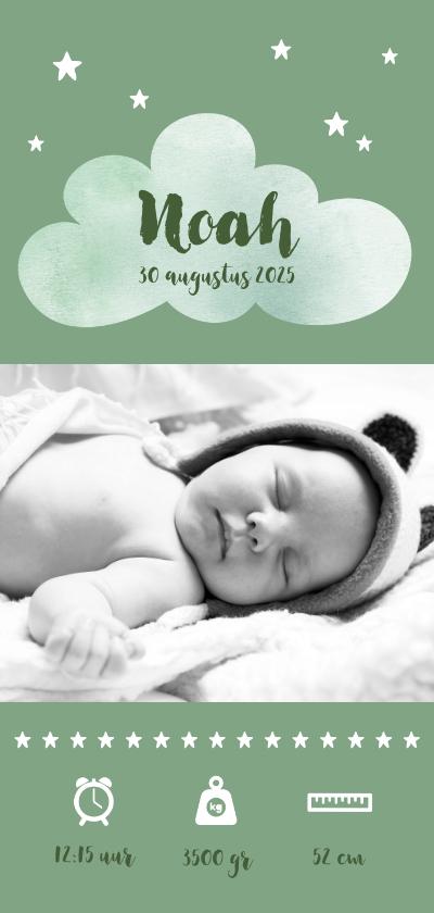 Geboortekaartjes - Geboortekaartje jongen stoer olijfgroen sterretjes