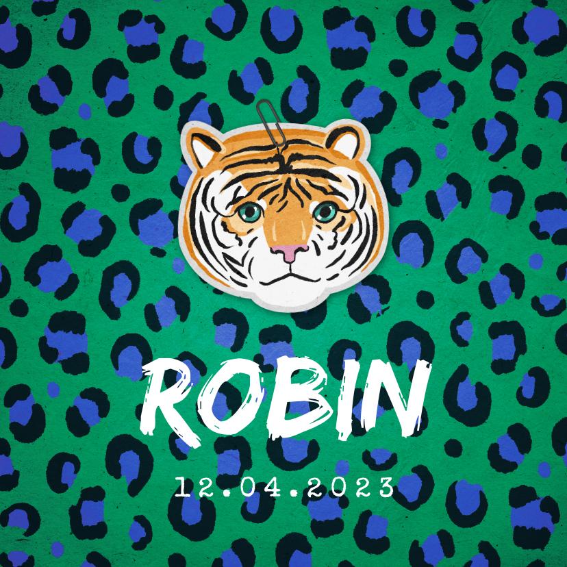 Geboortekaartjes - Geboortekaartje jongen stoer tijger panterprint groen blauw