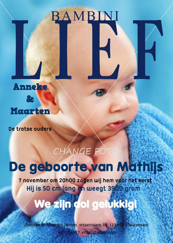 Geboortekaartjes - Geboortekaartje Jongen Tijdschrift