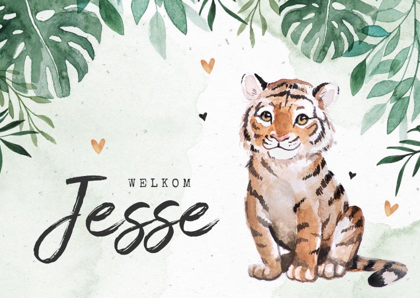 Geboortekaartjes - Geboortekaartje jongen tijgertje botanisch groen waterverf