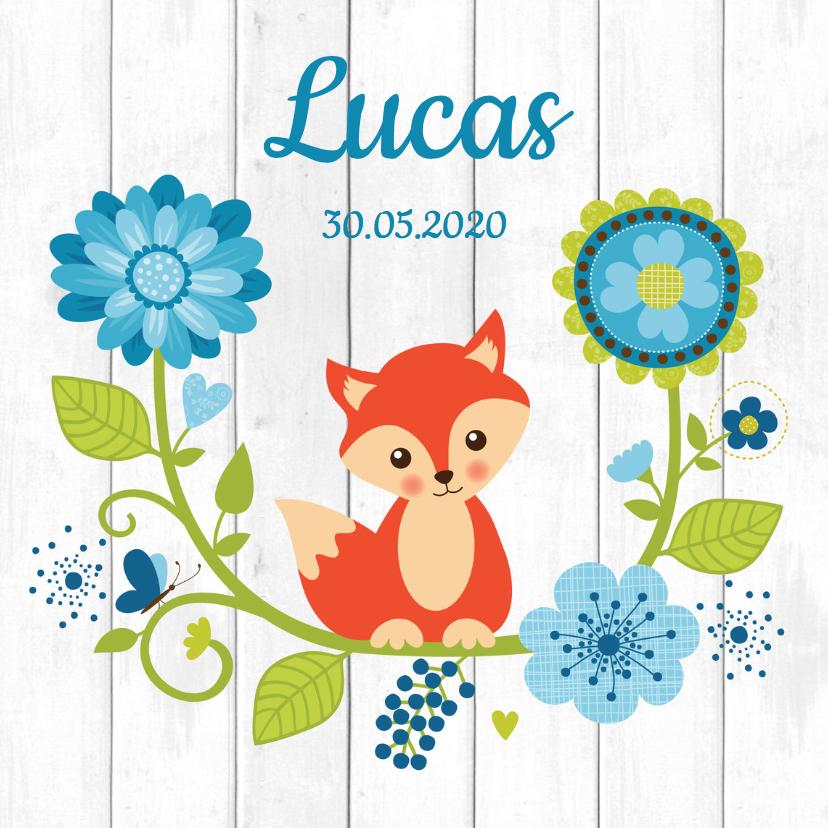 Geboortekaartjes - Geboortekaartje jongen vos bloemen