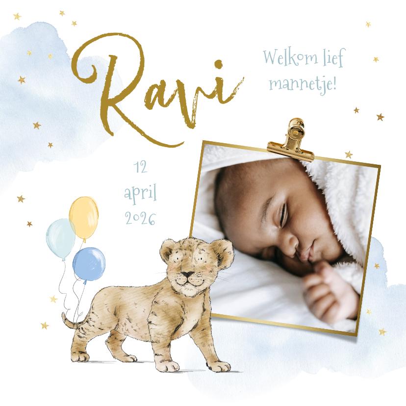 Geboortekaartjes - Geboortekaartje jongen welpje ballonnen watercolor foto goud