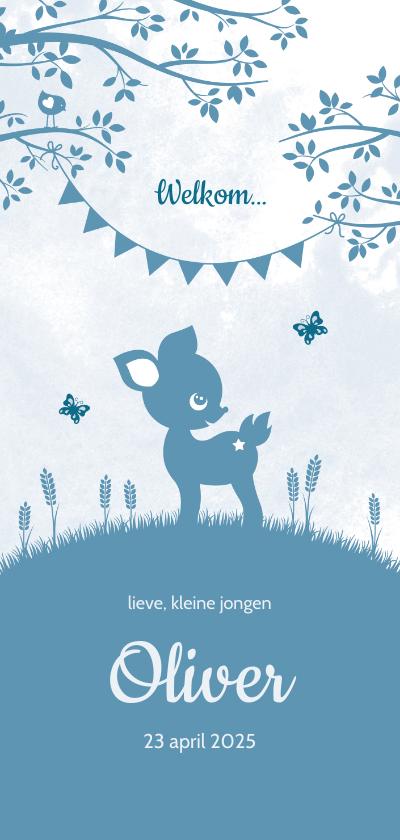 Geboortekaartjes - Geboortekaartje jongen zoon hertje vlinder silhouet