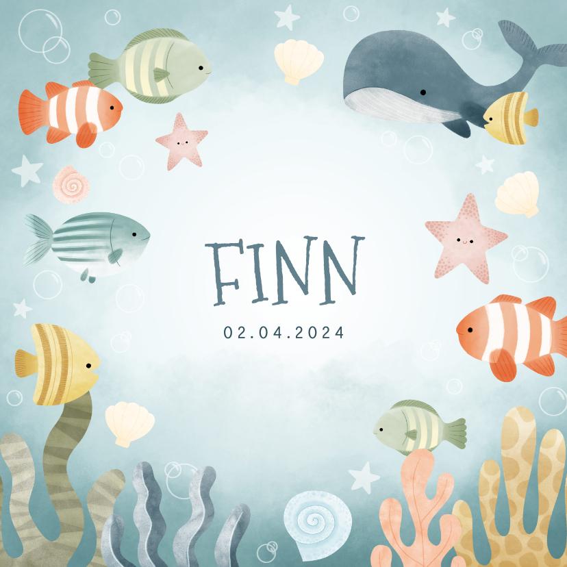 Geboortekaartjes - Geboortekaartje jongetje met visjes, walvis, oceaan sterren