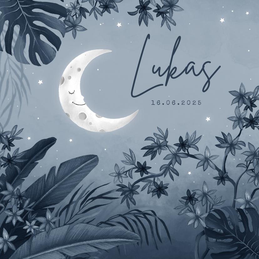 Geboortekaartjes - Geboortekaartje jungle nacht maan sterren blauw vintage