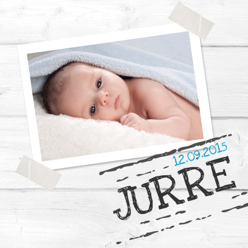 Geboortekaartjes - Geboortekaartje Jurre foto-stempel SS