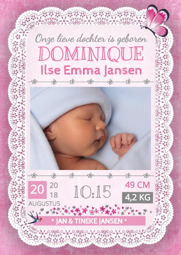 Geboortekaartjes - Geboortekaartje Kant Meisje