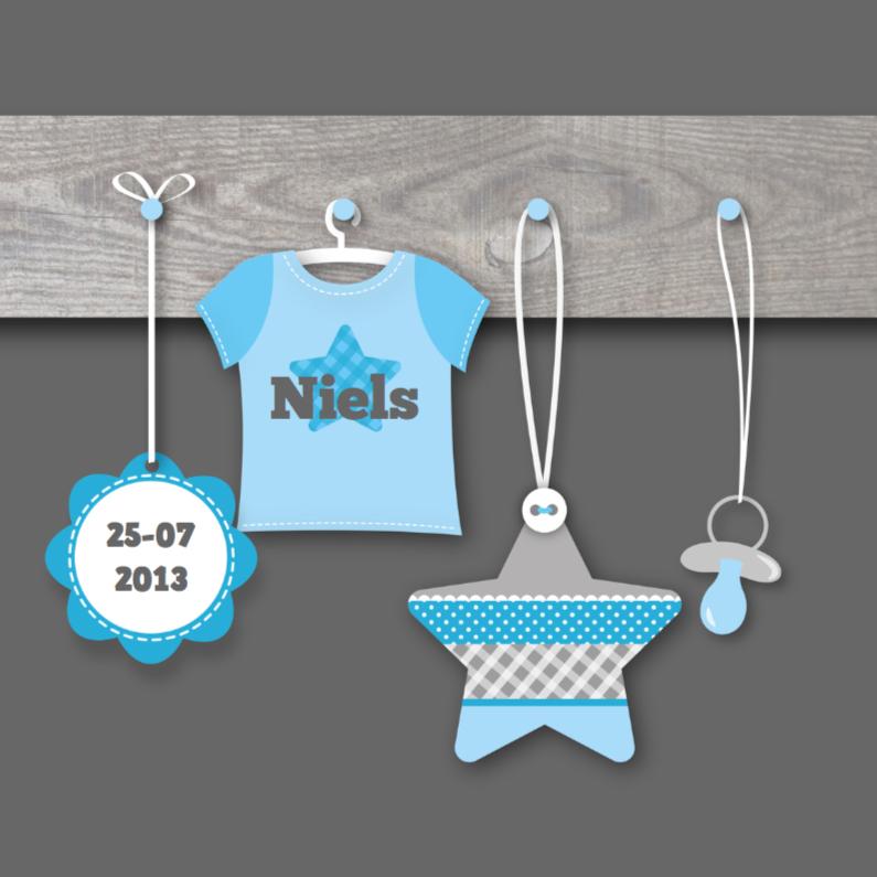 Geboortekaartjes - Geboortekaartje Kapstok Jongen