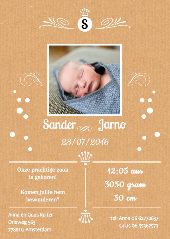Geboortekaartjes - geboortekaartje karton hip
