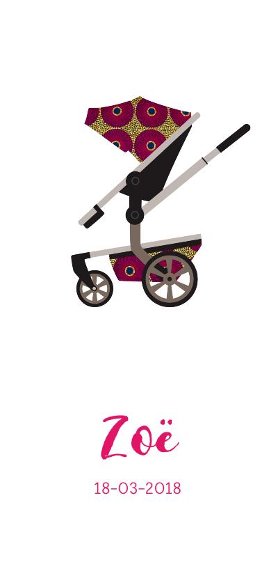 Geboortekaartjes - Geboortekaartje kinderwagen in Afrikaanse print in roze