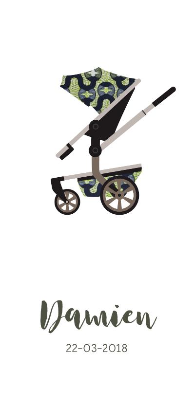 Geboortekaartjes - Geboortekaartje kinderwagen met Afrikaanse print in groen