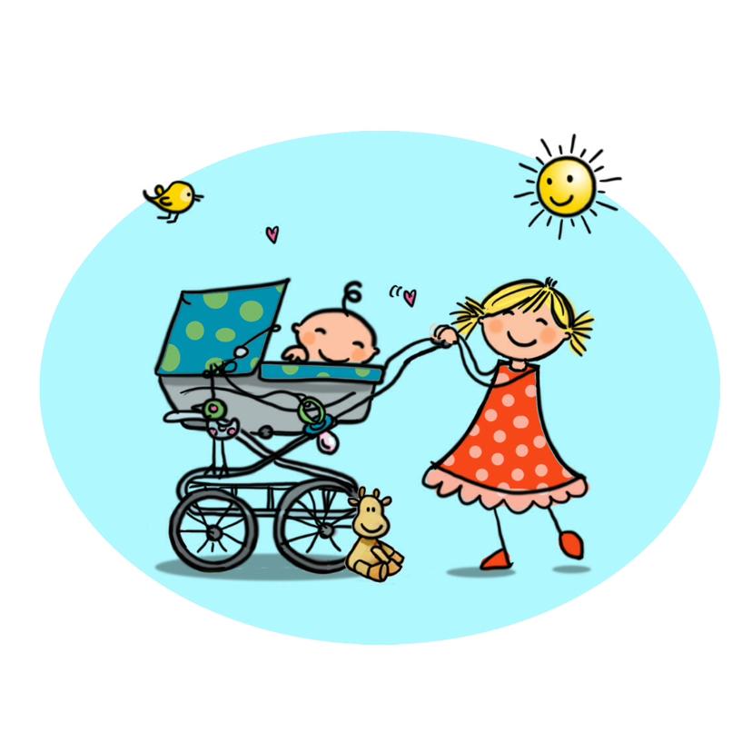 Geboortekaartjes - Geboortekaartje kinderwagen zusje