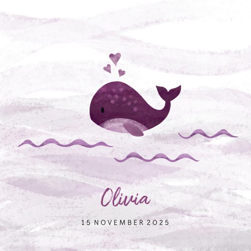 Geboortekaartjes - Geboortekaartje kleine walvis met hartjes roze