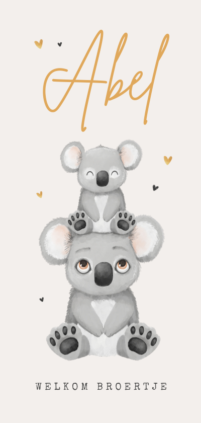 Geboortekaartjes - Geboortekaartje koala broertje zusje goud hartjes unisex