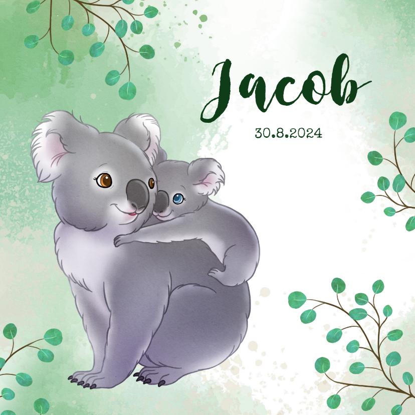Geboortekaartjes - Geboortekaartje koala met baby en takjes waterverf