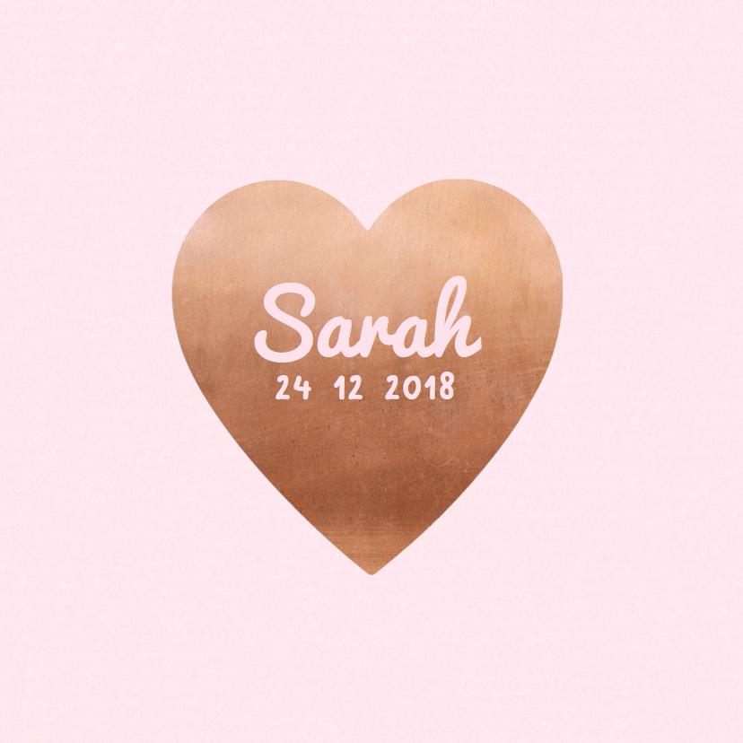 Geboortekaartjes - Geboortekaartje koper hart roze