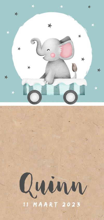 Geboortekaartjes - Geboortekaartje kraft olifantje sterretjes