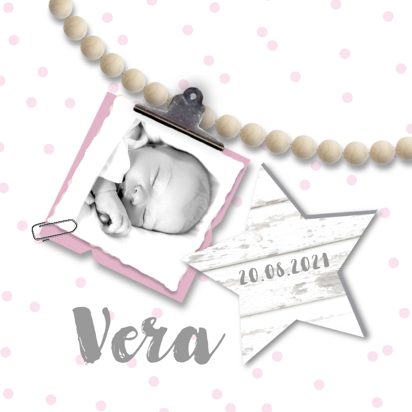 Geboortekaartjes - Geboortekaartje kralen meisje