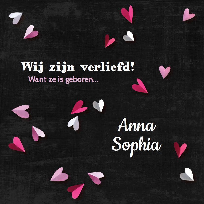 Geboortekaartjes - Geboortekaartje krijtbord Anna
