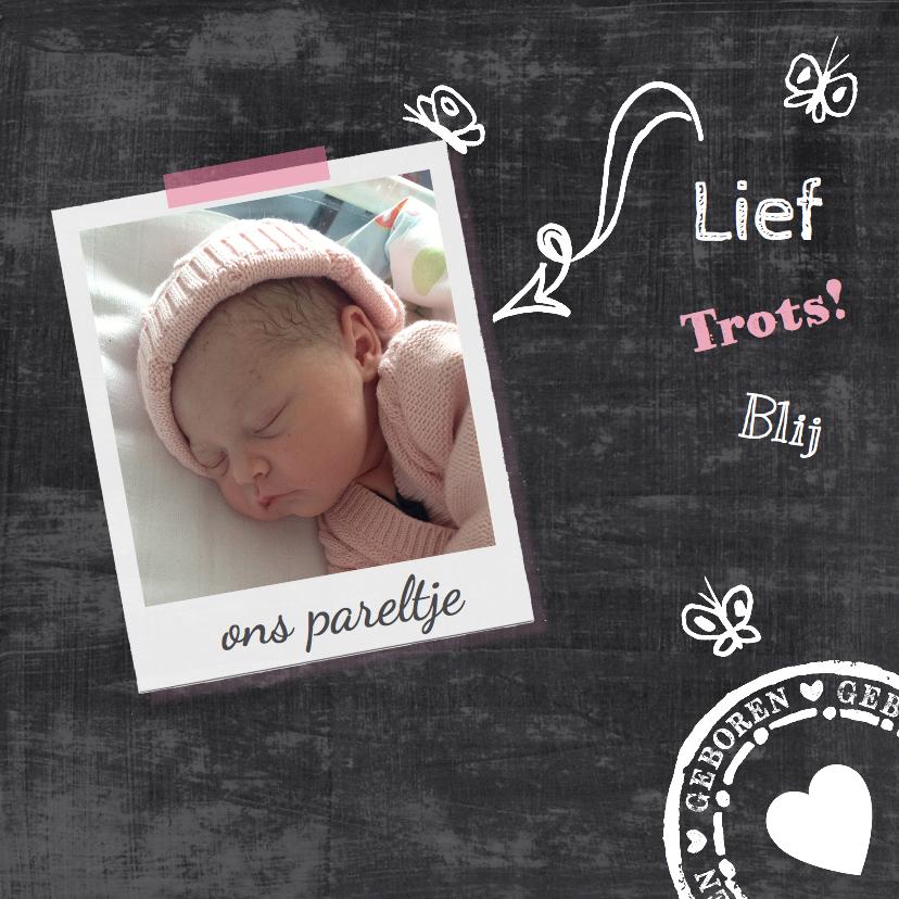 Geboortekaartjes - Geboortekaartje krijtbord lief