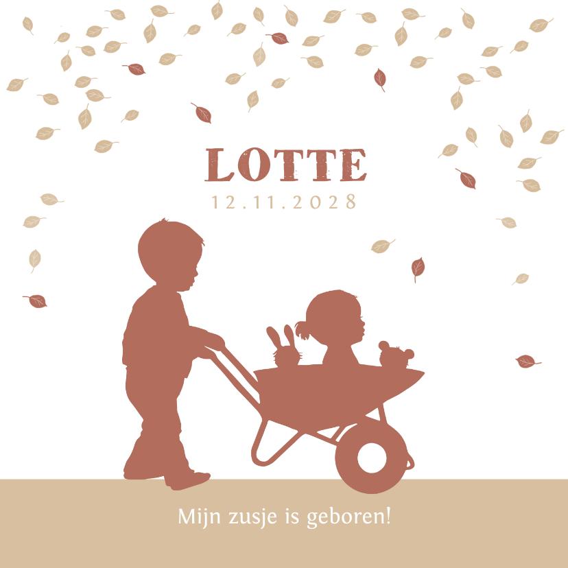 Geboortekaartjes - Geboortekaartje kruiwagen met zusje in kraftkleur