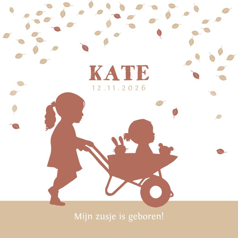 Geboortekaartjes - Geboortekaartje kruiwagen met zusjes in kraftkleur