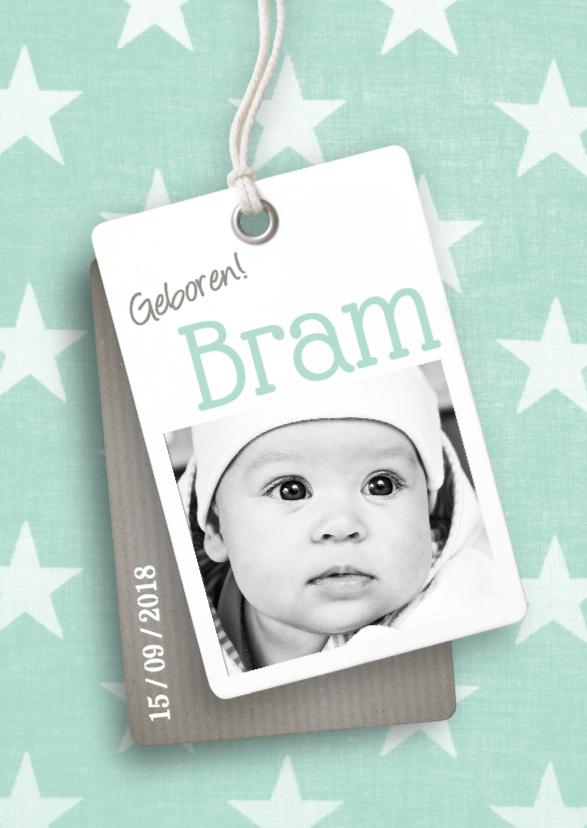 Geboortekaartjes - Geboortekaartje label foto mint