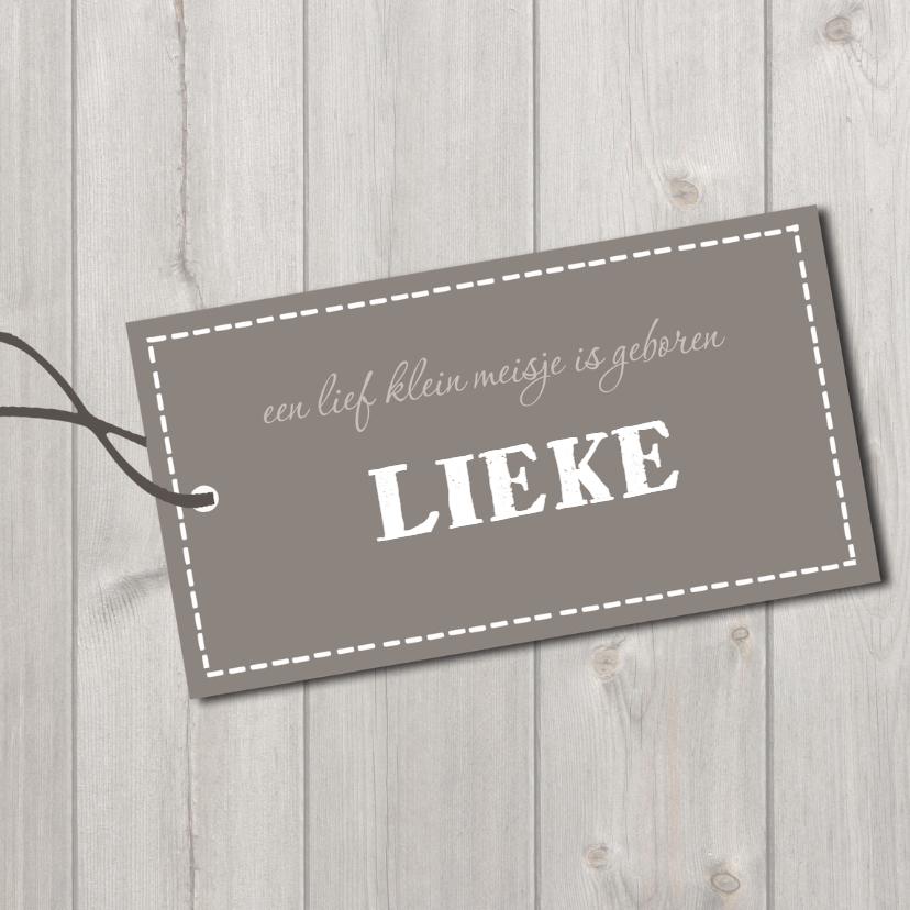 Geboortekaartjes - Geboortekaartje label Lieke