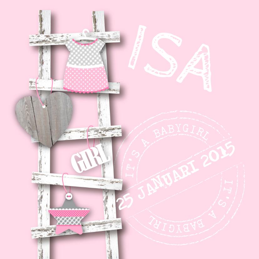 Geboortekaartjes - Geboortekaartje Ladder Meisje