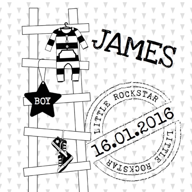 Geboortekaartjes - Geboortekaartje ladder zwartwit