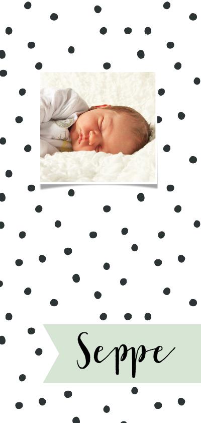 "Geboortekaartjes - Geboortekaartje lang ""Stip"" aanpasbare kleur"