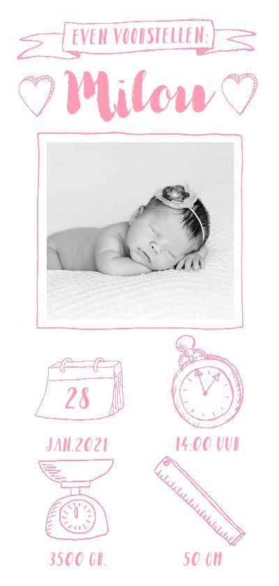 Geboortekaartjes - Geboortekaartje langwerpig foto icoontjes roze