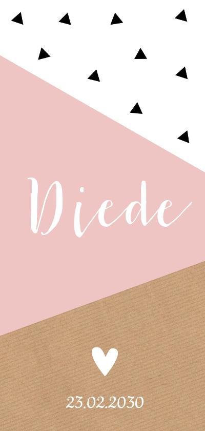 Geboortekaartjes - Geboortekaartje langwerpig geometrisch roze dubbel