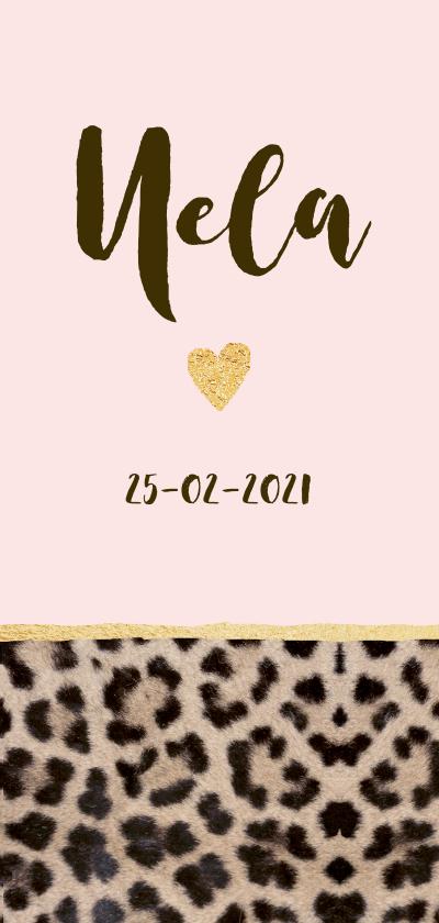 Geboortekaartjes - Geboortekaartje langwerpig panterprint hartje